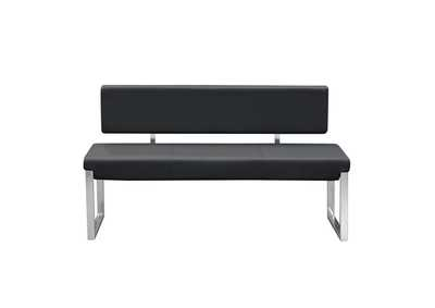 Knox Black Bench w/ Back & Stainless Steel Frame
