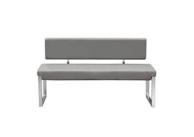 Knox Gray Bench w/ Back & Stainless Steel Frame