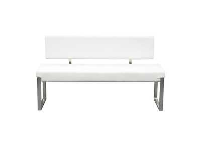 Knox White Bench w/ Back & Stainless Steel Frame