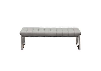 Knox Grey Backless Tufted Bench w/ Stainless Steel Frame