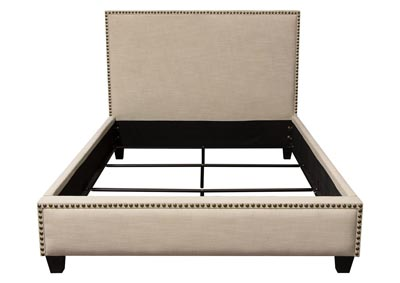 La Jolla Desert Sand Linen California King Platform Bed with Nail Head Accent