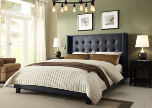 Madison Tufted Eastern King Bed with Tapered Wings in Black Leatherette Finish