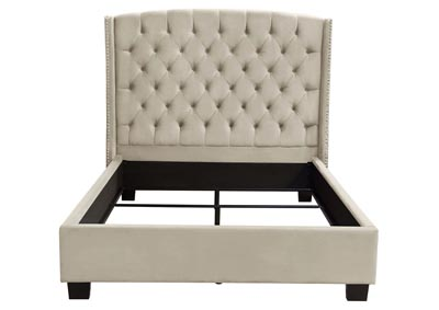 Majestic Tan Velvet Cal King Tufted Bed w/Nail Head Wing Accents
