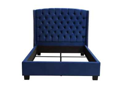Majestic Royal Navy Velvet Queen Tufted Bed w/Nail Head Wing Accents