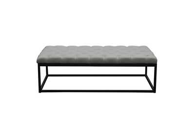 Mateo Grey/Black Powder Coat Metal Large Linen Tufted Bench