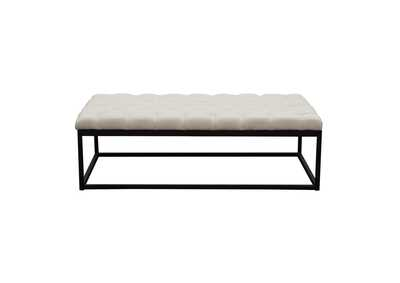 Mateo Desert Sand Linen Black Powder Coat Metal Large Tufted Bench
