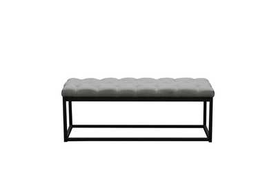 Mateo Gray/Black Powder Coat Metal Small Linen Tufted Bench