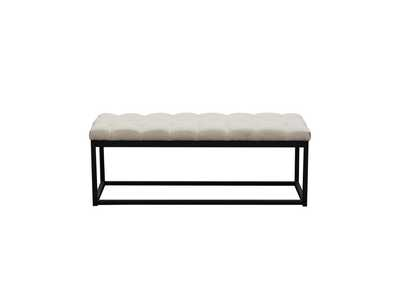 Mateo Desert Sand Linen Black Powder Coat Metal Small Tufted Bench