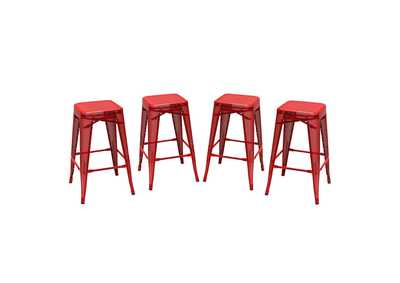 Mesh Red Perforated Metal Counter Height Backless Stool