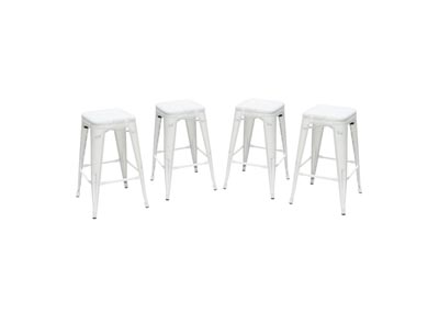 Mesh White Perforated Metal Counter Height Backless Stool