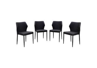 Milo Black Diamond 4-Pack Dining Chairs  w/Black Powder Coat Legs