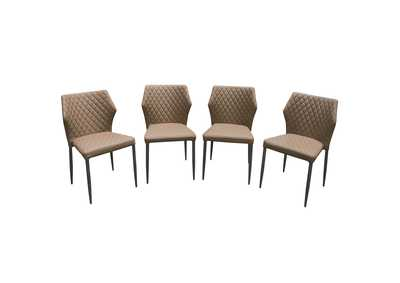 Milo Coffee Diamond Tufted Leatherette Dining Chairs w/Black Powder Coat Legs (4Pc)