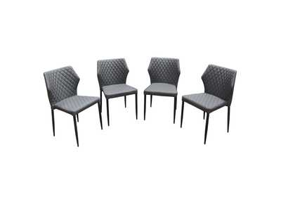 Milo Grey Diamond Tufted Leatherette Dining Chairs w/Black Powder Coat Legs (4Pc)