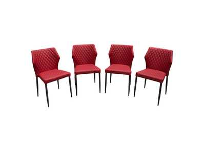 Milo Red Diamond Tufted Leatherette Dining Chairs w/Black Powder Coat Legs (4Pc)