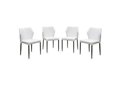 Milo White Diamond 4-Pack Dining Chairs w/Black Powder Coat Legs