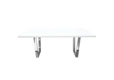 Mirage Rectangular Dining Table w/White Lacquer Top & Chrome Base