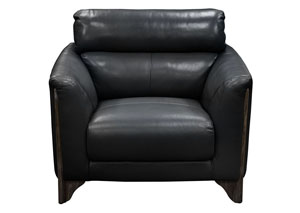 Monaco Chair in Black Blended Leather with Ash Wood Trim & Leg