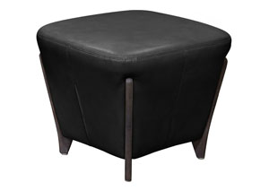Monaco Square Ottoman in Black Blended Leather with Ash Wood Trim & Leg