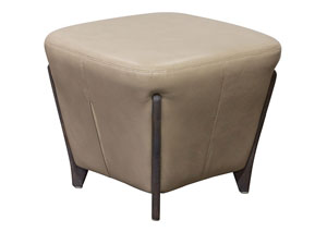 Monaco Square Ottoman in Tan Blended Leather with Ash Wood Trim & Leg