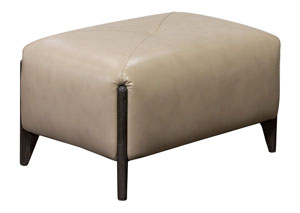 Monaco Rectangular Ottoman in Tan Blended Leather with Ash Wood Trim & Leg