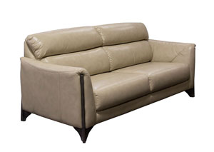 Monaco Sofa in Tan Blended Leather with Ash Wood Trim & Leg