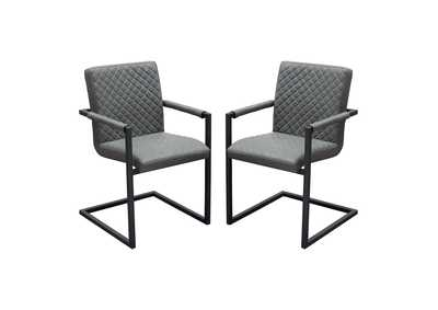 Nolan Charcoal Diamond Tufted Leatherette on Charcoal Powder Coat Frame Dining Chairs (2Pc)