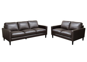 Omega Full Leather Sofa & Loveseat 2 Piece Set