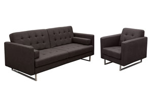 Opus Convertible Tufted Sofa with Chair 2PC Set