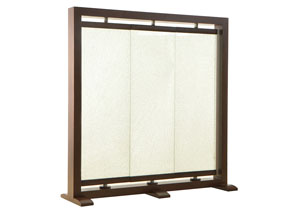 Triple Panel Crackled Glass Room Partition