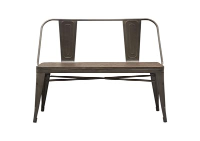 Panda Rust Brown Dining Bench w/Bamboo Seat & Metal Frame