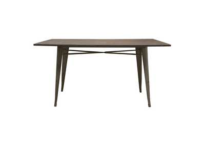 Panda Rust Brown Dining Table w/Bamboo Top & Metal Base