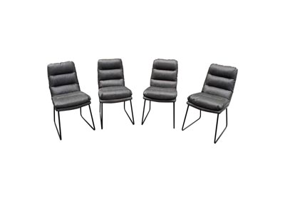 Rex Gray Dining Chairs w/Painted Metal Leg ( Set of 4)