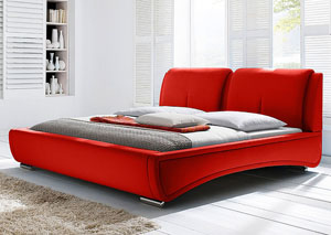 Sydney California King Bed in Red Fabric