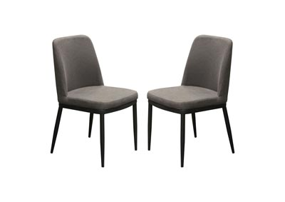 Tempo Dining Chairs w/Grey Fabric & Powder Coated Legs (2Pc)