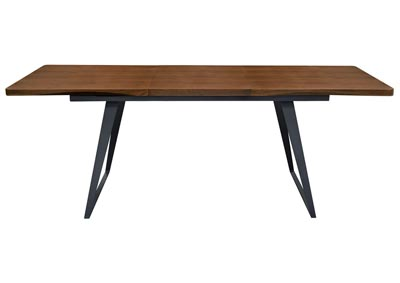 Tempo Extension Dining Table w/Walnut Top & Black Powder Coated Legs