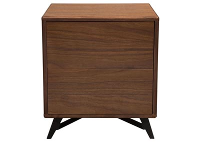 Tempo End Table w/Drawer Storage in Walnut Case & Black Powder Coated Legs