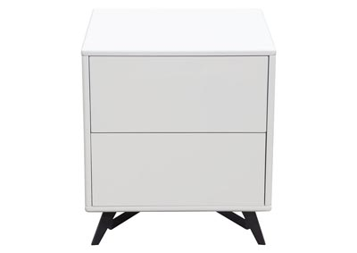 Tempo White End Table w/Drawer Storage & Black Powder Coated Legs
