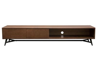 Tempo Low Profile Entertainment Cabinet in Walnut Case & Black Powder Coated Legs
