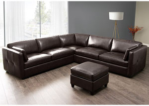Urban 3 Piece Arm Sectional with Square Corner Chair In Brown