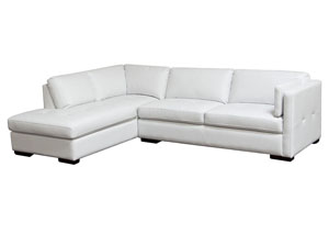 Urban Left Facing Chaise 2 Piece Sectional In White