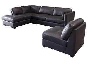 Urban Left Facing Chaise 2 Piece Sectional with Armless Chair In Black