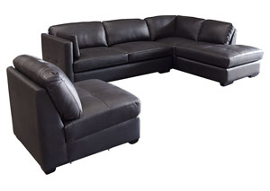 Urban Right Facing Chaise 2 Piece Sectional with Armless Chair In Black