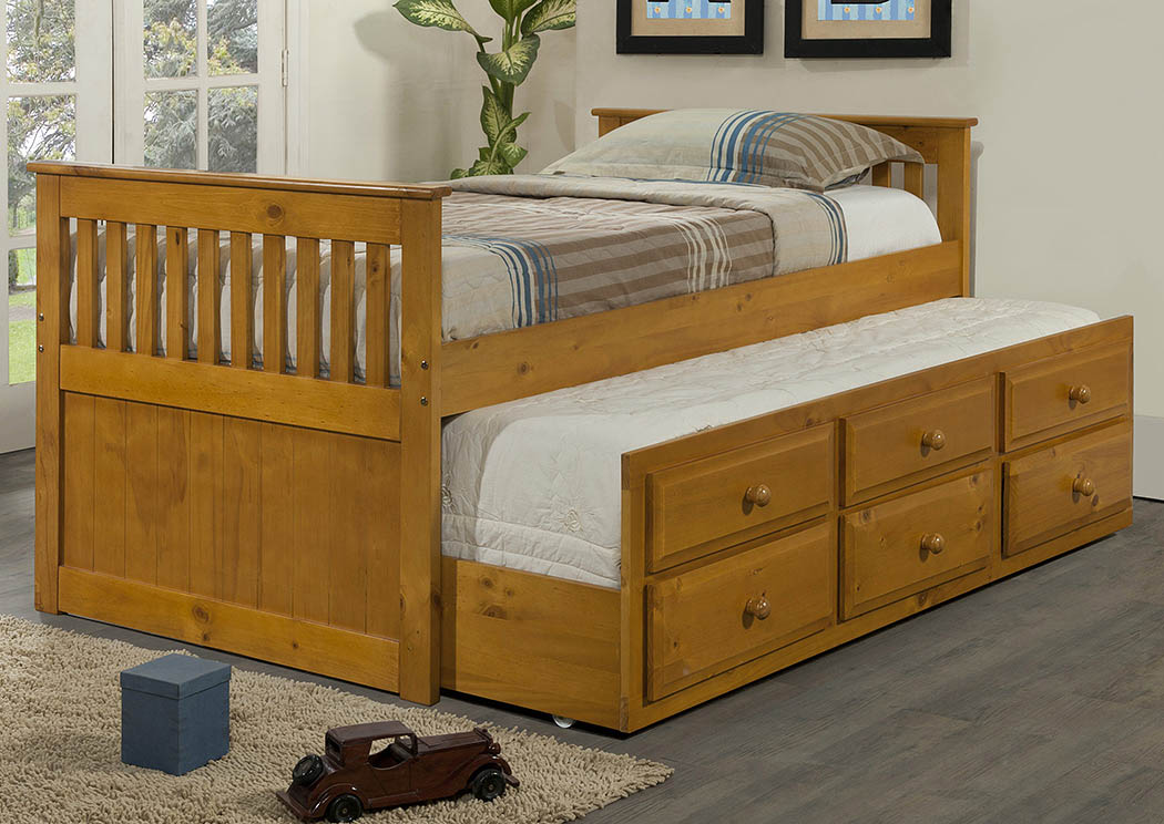 Mattress Furniture For Less Twin Honey Mission Trundle Bed W3