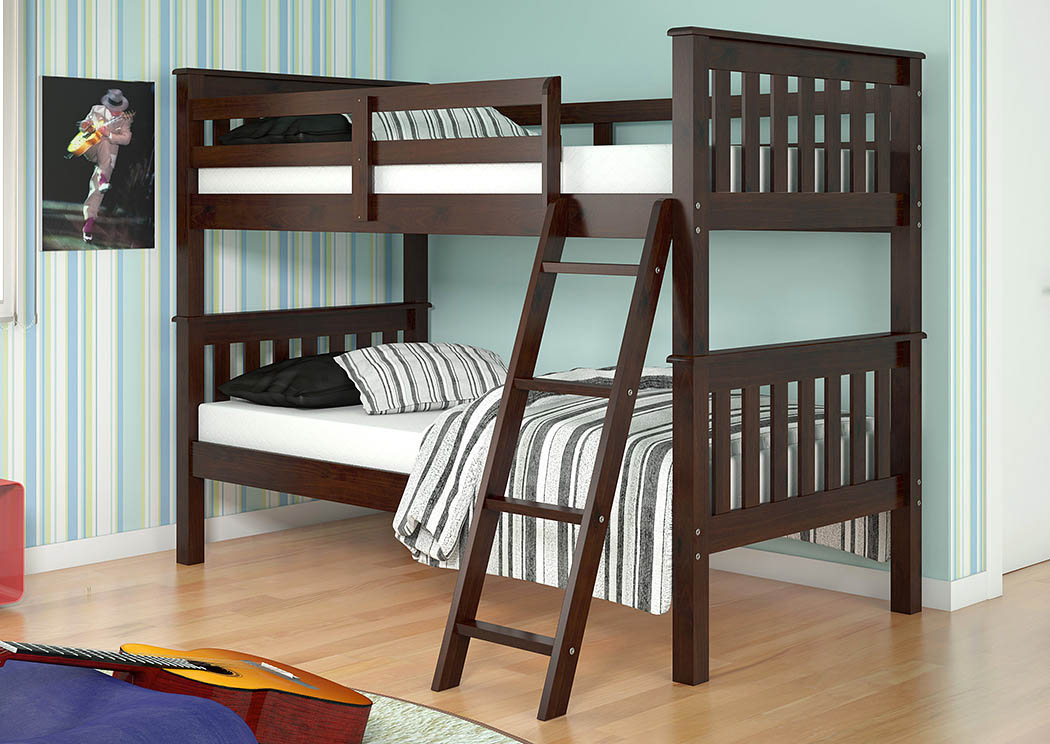 Twin/Twin Dark Cappuccino Bunk Bed w/Tilt Ladder,Donco Kids