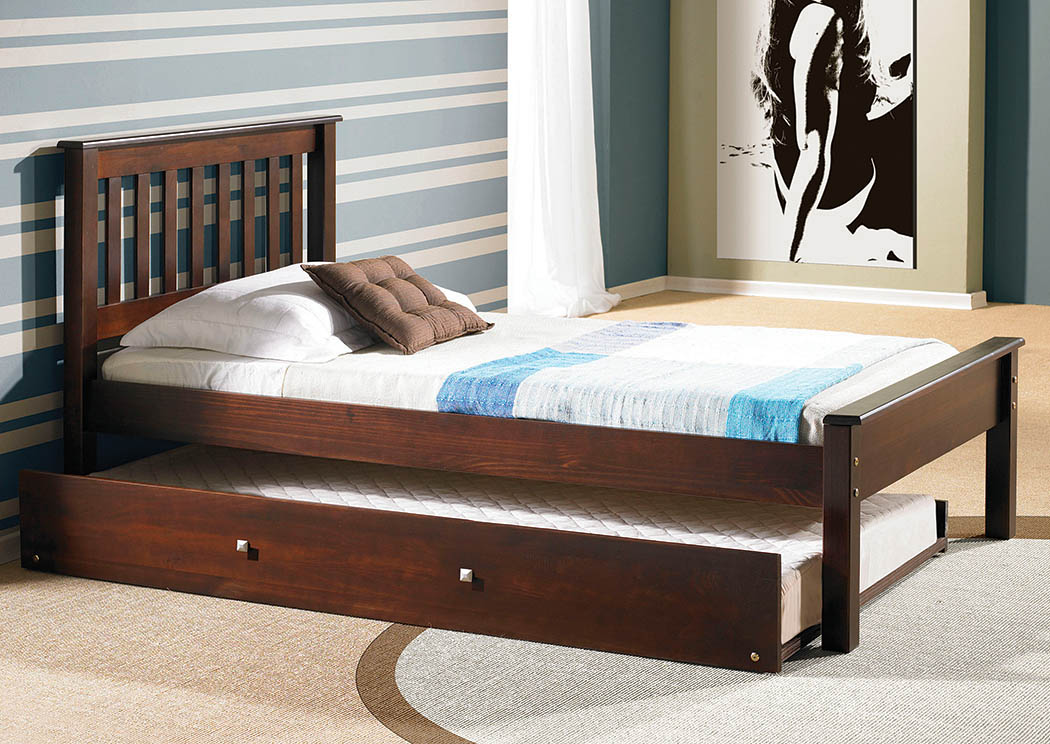Contempo Dark Cappuccino Twin Bed,Donco Kids