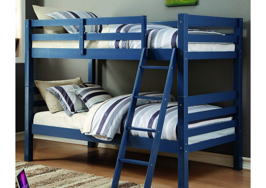Twin/Twin Blue Liberty Bunk Bed w/Tilt Ladder,Donco Kids