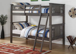 Twin/Twin Princeton Slate Gray Bunk Bed w/Ladder