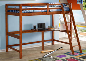 Tall Student Light Espresso Loft Bed