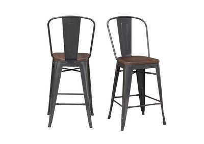 Image for Gray/Brown Moon Bar Stool [Set of 2]