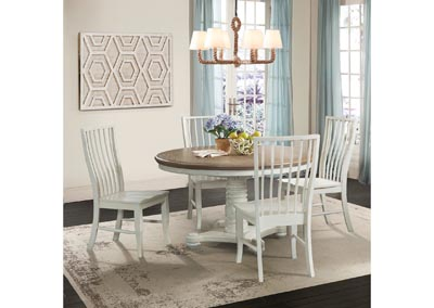 Image for Bristol Bay Pedestal Table  Brown/white Side Chair (Set of 2)